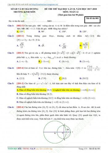 Đề 10: Đề thi thử THPTQG môn Toán năm 2018 Môn Toán Trường THPT Kinh Môn - Hải Dương lần 2 mã đề 001