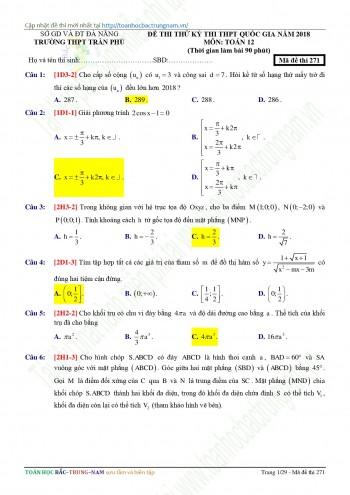 Đề thi thử THPHQG năm 2017-2018 Trường THPT Trần Phú - Đà Nẵng mã đề 271