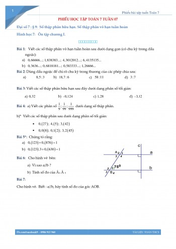 Phiếu bài tập Toán 7 Tuần 7