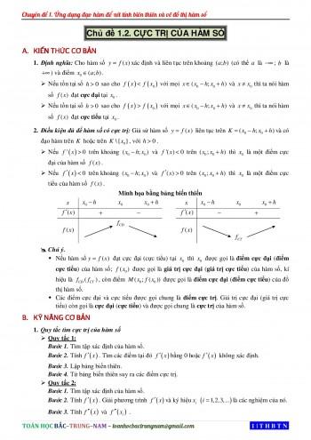 Toán 12 - Chuyên đề 2: Cực trị của hàm số (Trắc nghiệm + Đáp án chi tiết)