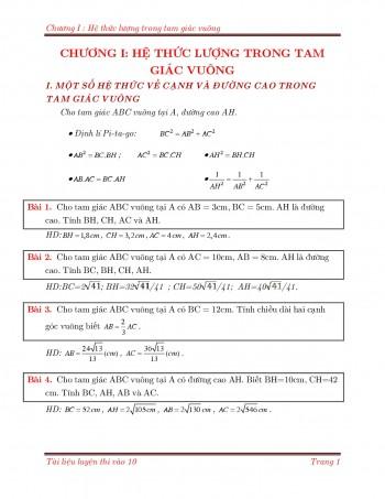 Toán 9 : Hệ thức lượng trong tam giác vuông
