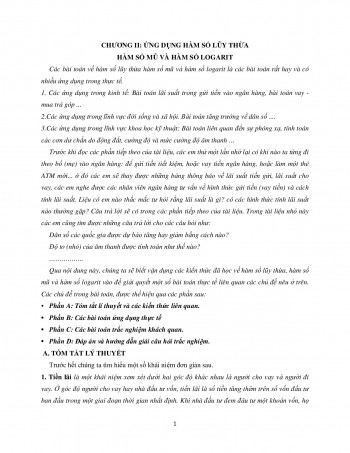 Chuyên đề: Ứng dụng của hàm mũ và logarit giải bài toán thực tế