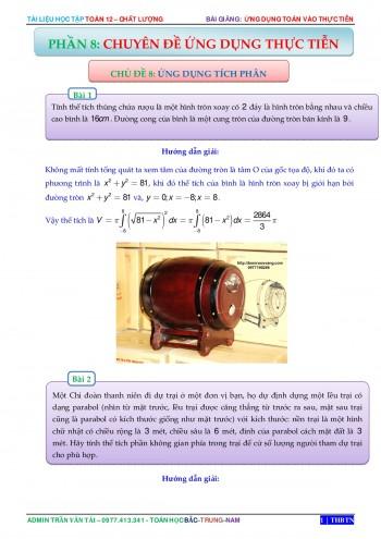 Ứng dụng tích phân giải các bài toán thực tế